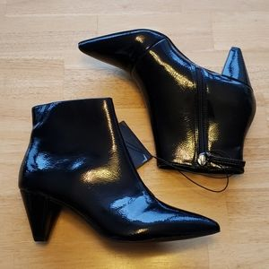 Forever 21 black patent heeled booties